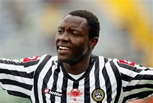 Udinese's Kwadwo Asamoah of Ghana reacts after scoring during a Serie A soccer match between Udinese and Fiorentina in Udine, Italy, Sunday, April 19, 2009. (AP Photo/Franco Debernardi)